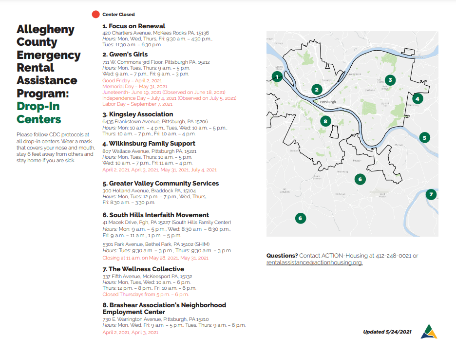 Map of drop-in locations for the Emergency Rental Assistance Program. More info at covidrentrelief.alleghenycounty.us