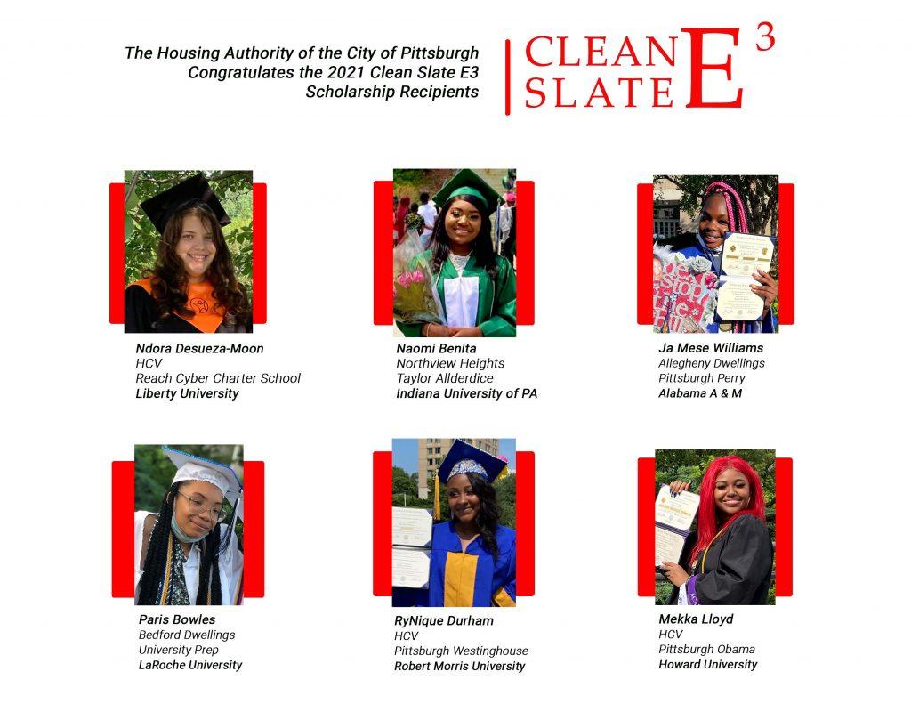 Photo collage showing graduation photos of the 2021 Clean Slate E3 recipients: Ndora Desueza-Moon, Naomi Benita, Ja Mese Williams, Paris Bowles, Rynique Durham, and Mekka Lloyd