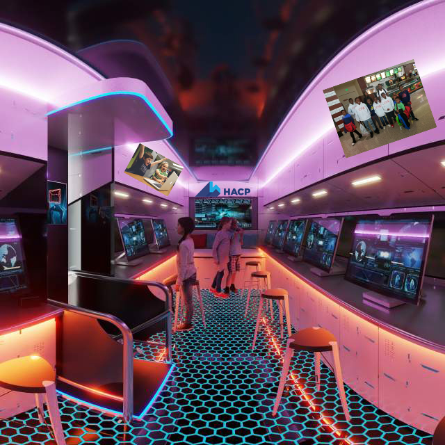 Rendering of the interior of the bus, showing the computer stations lining the sides