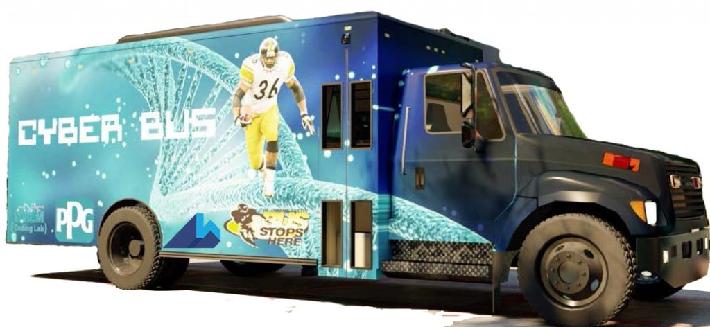 """Rendering of the Cyberbus. It is blue with a picture of Jerome Bettis and """"CyberBus"""" on the side"""