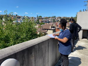 A KaBloom 2021 judge looks out at the overlook at Mazza Pavilion as she judges