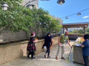 HACP KaBloom judges walk through the Mazza Pavilion outdoor space